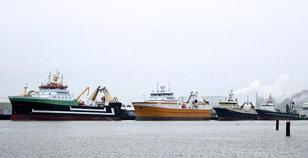 Fischereischiffe in Bremerhaven v.l.n.r.: Mark, Kirkella, Santa Princesa und Gerda Maria.