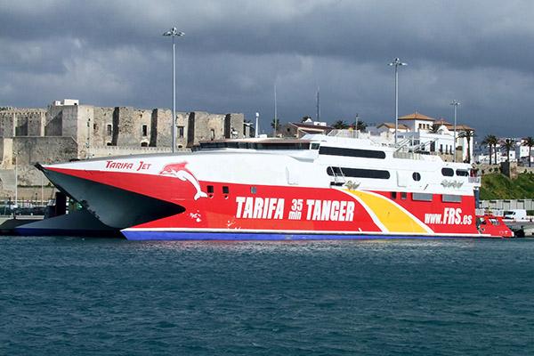 Incat-Katamaran TARIFA JET verkehrt auf der Straße von Gibraltar für FRS Iberia zwischen Tarifa und Tanger.