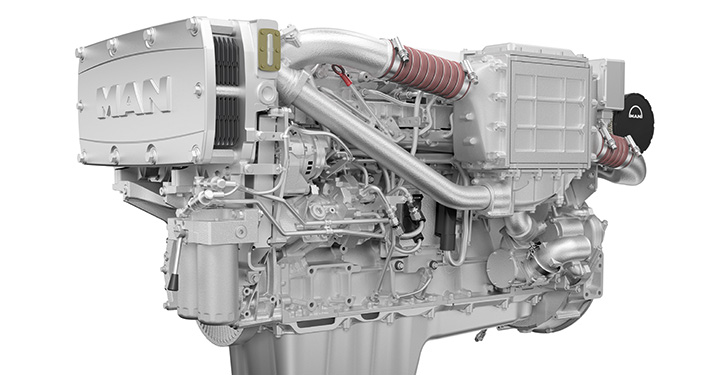 Reihensechszylinder-Motoren von MAN für die Arbeitsschifffahrt.