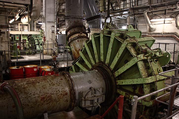 Eine der beiden riesigen Saugpumpen, Durchmesser rund 4 mtr.