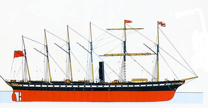 SS GREAT BRITAIN war zu seiner Zeit (1843) das größte Dampfschiff der Welt.