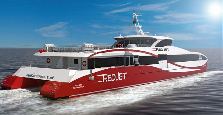 Red Jet 6. Angetrieben von vier 900 Kilowatt starken MTU-Motoren der Baureihe 2000, erreicht es eine Geschwindigkeit von bis zu 38 Knoten.