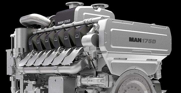 Der V-Winkel der neuen Motoren der MAN-Baureihe 175 von 60° führt zu äußerst schmal bauenden Motoren mit einer maximalen Breite von weniger als 1500 mm.