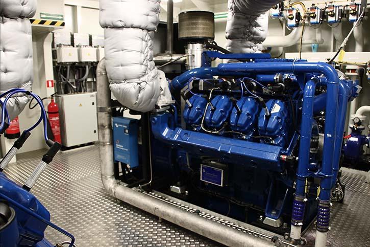 Der Scania-Sandfirden Gas-Ottomotor umfasst 250 - 300 kW (COP) bei Drehzahlen von 1.500 beziehungsweise 1.800/min.