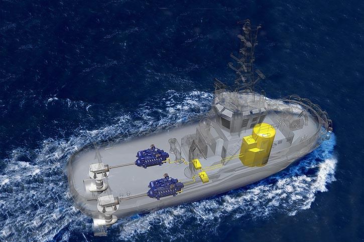 Ab Ende 2017 werden die ersten Vorserienmotoren einen von Damen Shipyard gebauten Schlepper für die Reederei Svitzer antreiben.