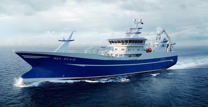 The 80 metre long purse seiner/trawler is intended to operate in the Northern Atlantic.