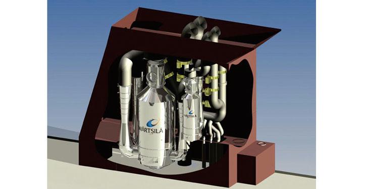 Einbausituation eines Hybrid-Abgaswäschersystems.