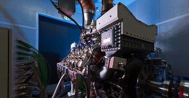 MTU's neuer Gasmotor Serie 4000 auf dem Prüfstand.