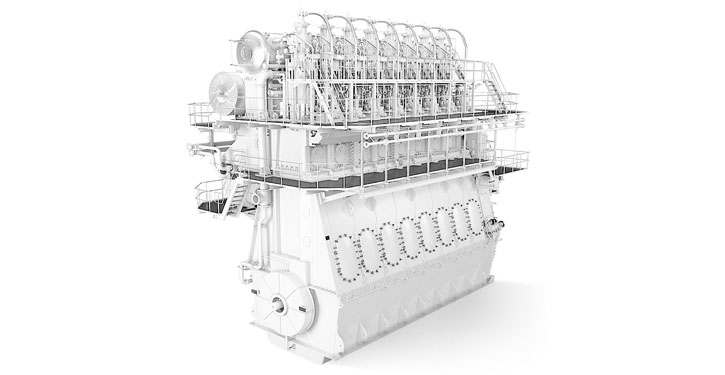 Two-stroke low speed engine with ABB turbocharger applied.