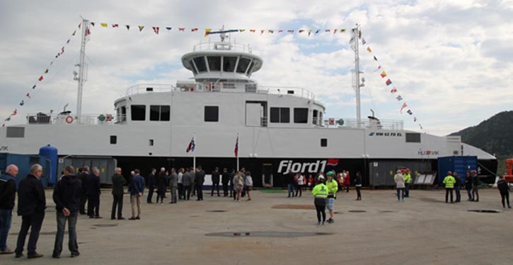 The battery-powerd ferry Husavik was recently christened . © Fjord1