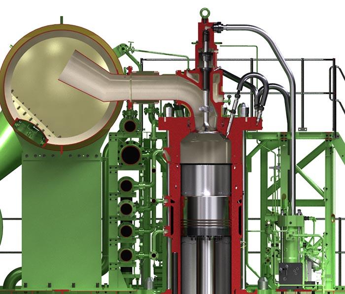 Schnittbild Einspritzsystem des ME-CI