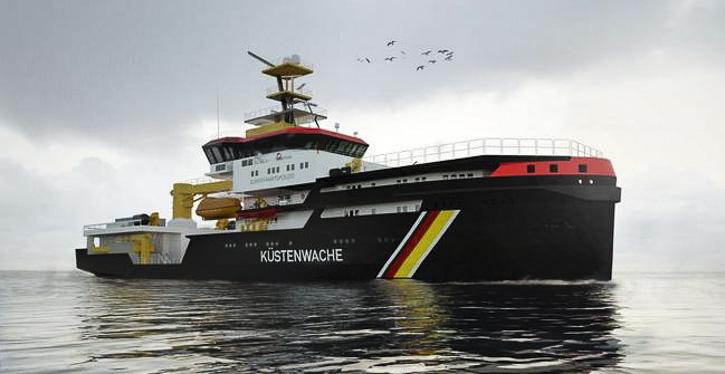 Modell neues Mehrzweckschiff der Küstenwache