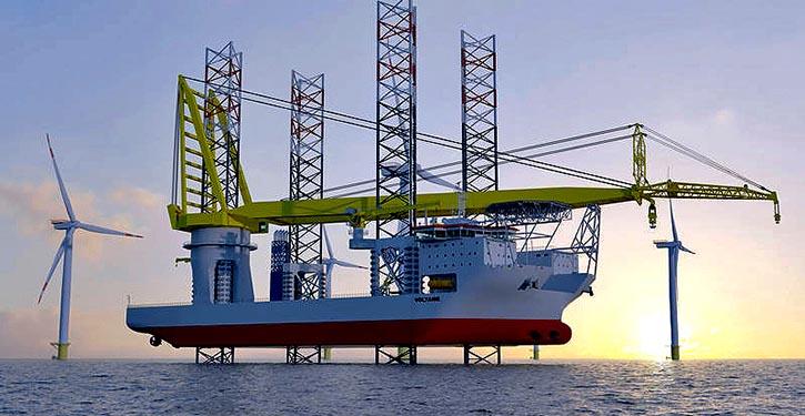 Das Jack-up-Schiff VOLTAIRE der Reederei Jan de Nul wurde speziell für die Errichtung und den Service von Windkraftanlagen gebaut.
