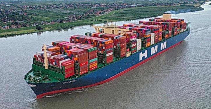 HMM ALGECIRAS läuft auf ihrer Jungfernfahrt in Hamburg ein