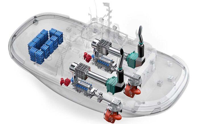 Grafik des weltweit ersten Hafenschleppers der mit Wasserstoff betrieben wird