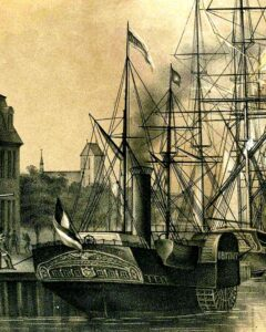 Der Ausschnitt aus einem Hafenbild der Hansestadt Wismar zeigt die OBOTRIT ex FINNLAND, gebaut 1842 in London.