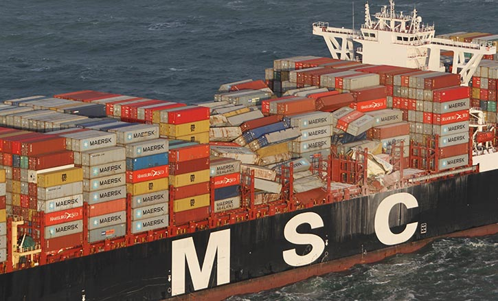 Die MSC ZOE verlor im Januar 2019 nördlich der Watteninseln laut Aussage der niederländischen Küstenwache 345 Container. © Archiv