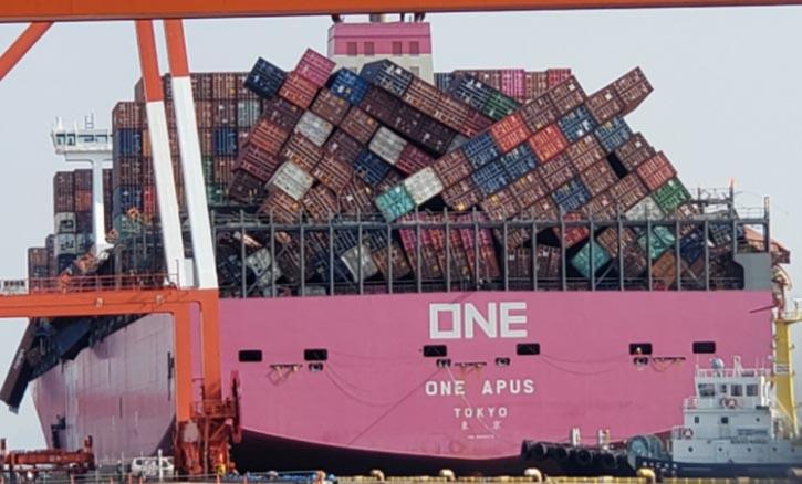 Das Schlachtfeld auf dem 364 Meter langen Frachter ONE APUS. © ONE Apus