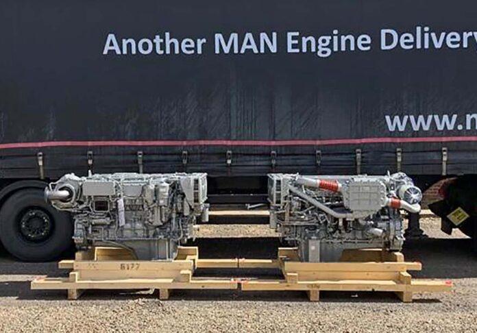 Die MAN D2676 auf ihrem Weg zur Werft Goodchild Marine Services.