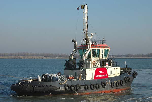 Schlepper wird auf Betrieb mit Methanol umgerüstet. © Port of Antwerp